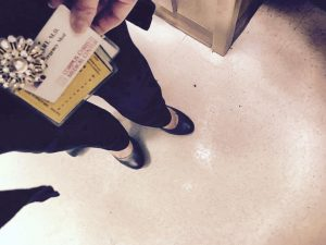 Holding up a badge in the ER. One of the 34 days of Ruby Slippers Challenge.