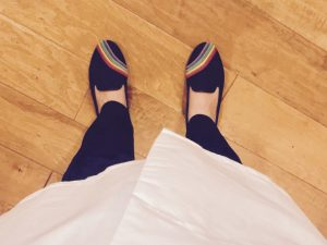 Family medicine resident wears rainbows. One of the 34 days of Ruby Slippers Challenge.